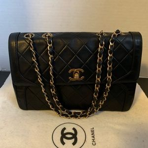 Chanel double chain flap lambskin Shoulder bag